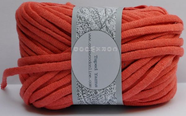 coral linen Chunky Tape yarn for knitting weaving and embellishing